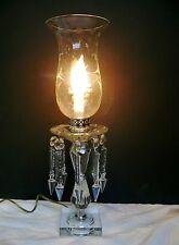 Antique Bobeche Mantle Luster Hurricane Crystal Lamp Spear Prisms Chrome Finish