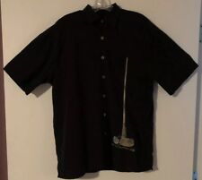 Bamboo Cay Men's Black Embroidered Button Front Short Sleeve Shirt.SZ.Small.EUC