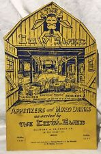 1930's The Cow Shed Menu Detroit, MI Dinner/Drinks/Dancing now Downtown Louies