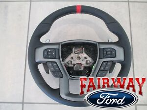 17 thru 19 F-150 OEM Ford Leather w/ Red Accent Heated Steering Wheel RAPTOR