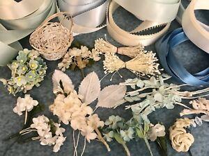 Lot Vintage Doll Millinery Flowers, 16 Yards Vintage Ribbon & Basket