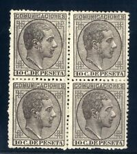 Sellos de España 1878 nº 192 10 cent. Alfonso XII Bloque de cuatro Nuevo