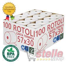 100 ROTOLI TERMICI 57x30 OMOLOGATI CASSA CARTA TERMICA BPA FREE TOP QUALITY
