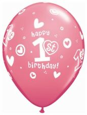 """1st First Birthday Rose Pink 11"""" Latex Balloons x 5 Girls Birthday Party"""