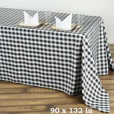 "Black White Checkered 90x132"" RECTANGULAR Polyester Tablecloth Picnic Event"