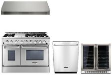 "Dual Fuel 48"" Range Thor Kitchen HRD4803U Double Oven Appliance Package"