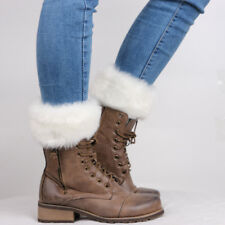 Hot Women Winter Leg Warmers Lady Crochet Knit Fur Trim Boot Socks Toppers Cuff