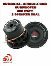"MASSIVE AUDIO SUMMO-64 - 6"" SINGLE 4 OHM CAR AUDIO SUBWOOFER 600W 2 SPEAKER DEAL"