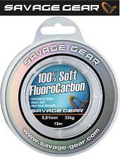 (1,33€/1m) Savage Gear Soft Fluorocarbon Schnur 0,81mm 15m 33kg, Vorfachschnur