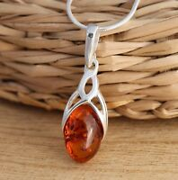 Cognac Baltic Amber 925 Sterling Silver Celtic Design Pendant Chain Necklace