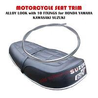 MOTORCYCLE SEAT TRIM ALLOY LOOK with 10 FIXINGS HONDA YAMAHA KAWASAKI SUZUKI