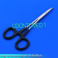 "Dog Cat Pet Grooming Hemostat Hair Puller 5.5"" Black Dep,Curved"