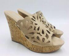 Charles By Charles David April Cutout Wedge Mule Sandal Size 9M Beige
