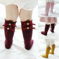 Toddler Baby Girls Knee High Long Socks Bow Cotton Casual Stockings 0-3 Years