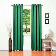 2 PANEL HUNTER GREEN FOAM LINED BLACKOUT GROMMET WINDOW CURTAIN K72 95""