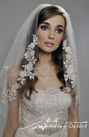 Bridal wedding 2 tiers veil with pearl silver thread lace comb elbow white/ivory