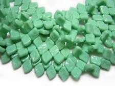 9x12mm Vintage Green Czech Glass  Top Drilled Leaf Beads (19) #979
