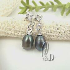 AU SELLER Chic Droped Black Genuine Pearls Earrings 05027
