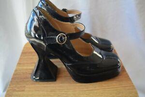 """Demonia """" Bat"""" shoes...black patent...size US 8"""