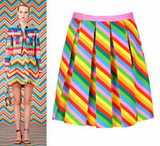 Polyester Pleated Striped Skirts for Women