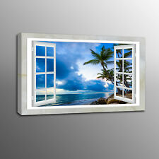 Wall Canvas Print Art Blue Sky Beach Coconut Tree Out of Window Art No Frame