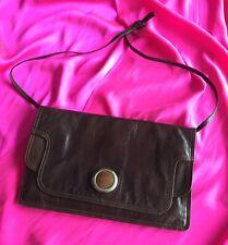 Vintage Bottega Veneta Brown Real Leather Oversized Envelope Clutch Shoulder Bag