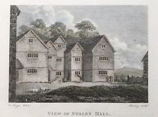 1795 Antique Print; Stayley Hall  Stalybridge, Greater Manchester after E. Dayes