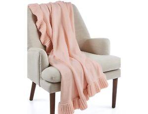 "Martha Stewart 50"" x 60"" Throw Blanket Acrylic Ruffled Trim PASTEL PINK D0Z291"