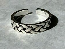 Small Celtic Weave Braid Adjustable Solid Sterling Silver 925 Toe Ring