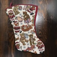 "Vintage Tapestry Christmas Stocking Teddy Bears 18"" Gift Santa Present"