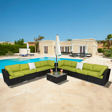 9PC Rattan Wicker Sofa Set Sectional Couch Cushioned Patio Outdoor Furniture