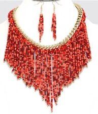 Red Coral Seed Bead Designer Gold Chunky Bib Gemstone Layered Necklace Set