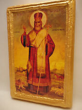Saint Modestos Modestus Bishop of Jerusalem Greek Orthodox Icon Art Name Plaque