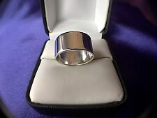 UNISEX WEDDING BAND STERLING SILVER 9.5MM SIZABLE 5 3/4