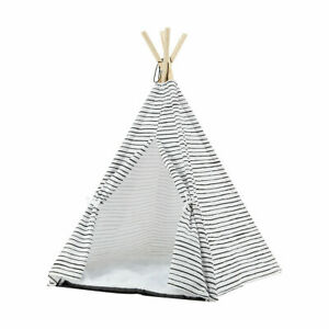 New Pet Bed Teepee Polyester And Cotton Poles Wooden Cushion Polyester F2