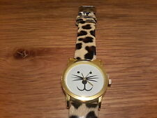 Brand new watch with a cat shaped face and leopard print strap and gift box