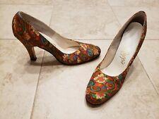 Vintage Johansen Rapp's Swirl Print Peacock Heels Shoes Pumps Size 7.5