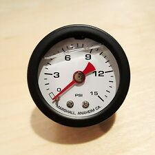 "Marshall Gauge 0-15 Psi Fuel Oil Pressure White Black Casing 1/8"" NPT 1.5"" Dia."