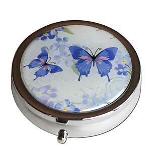 Butterflies Three Section Pocket Purse Travel Medicine Small Pill Box Case