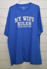 MY WIFE RULES SHE HAS LOTS OF THEM spouse anniversary T-Shirt blue 2XL