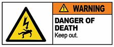KEEP OUT - DANGER OF DEATH - Removable Self Adhesive Label 100mm x 148mm 4ct