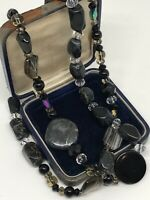 Vintage Necklace Black Polished Marble & Glass Long Sparkly Costume Kitsch Gift