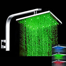 16Inch Stainless Steel Square 3 Color LED Brushed Nickel Rain Shower Head Faucet