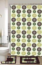 Donna Green & Yellow 15-Piece Bathroom Accessory Set 2 Bath Mats Shower Curtain