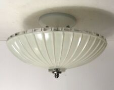 Antique cream white glass Art Deco flush mount ceiling light fixture