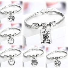 Dog Chain Bracelet Charm Cat Paw Prints Bangle Pendants Gifts Pet Lover Dog Tags