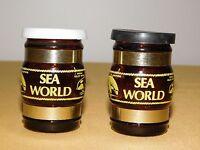 "VINTAGE 2 1/2"" HIGH SOUVENIR BROWN GLASS MUG SEA WORLD SALT & PEPPER SHAKERS"