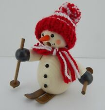 New Handmade German Snowman Skier Smoker w/ Red Knit Hat by Egermann