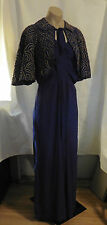 Rare 30s Beauty Royal Blue Crepe Gown w/ Gold Cording Jacket