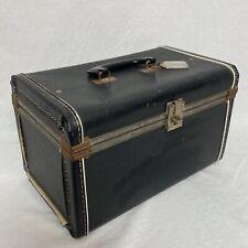 "Vintage 50's Solid Black Train Case Suitcase Hard Luggage 14""x9""x9"""